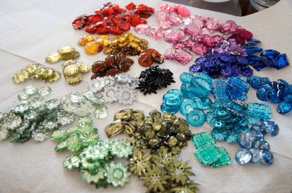 Sorting Faceted Plastic Gems Into Rainbow of Colors and Shapes