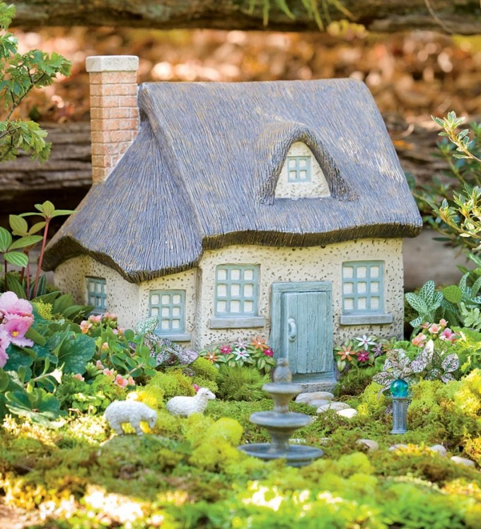 Miniature Gray Fairy Garden Cottage | Where to Buy Miniature and Fairy Garden Houses – Part I | Lush Little Landscapes
