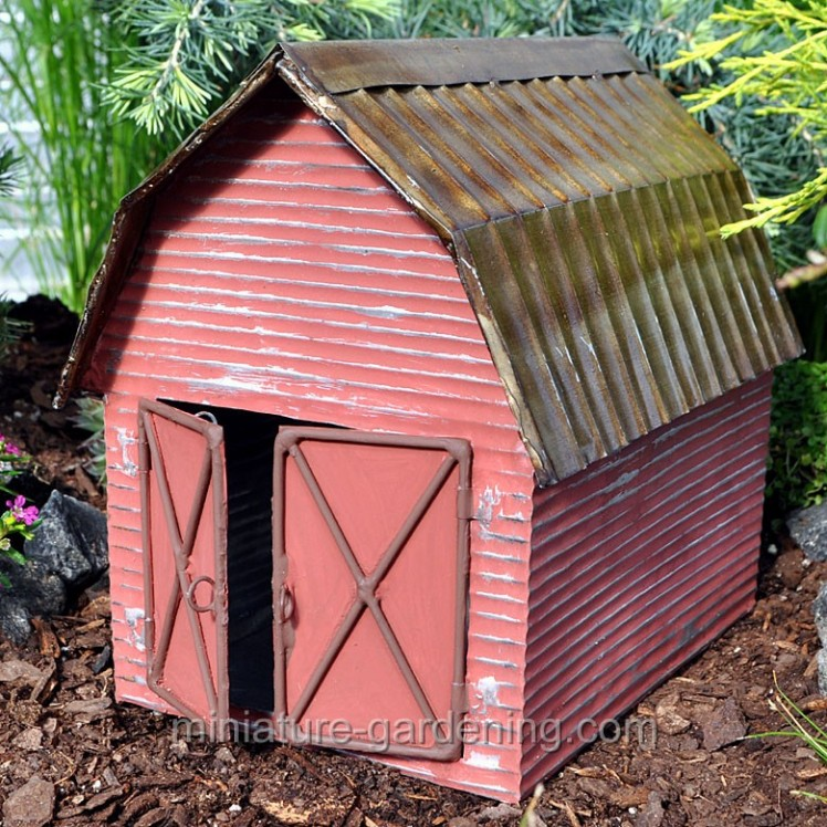 Red Metal Barn | Where to Buy Miniature and Fairy Garden Houses – Part I | Lush Little Landscapes