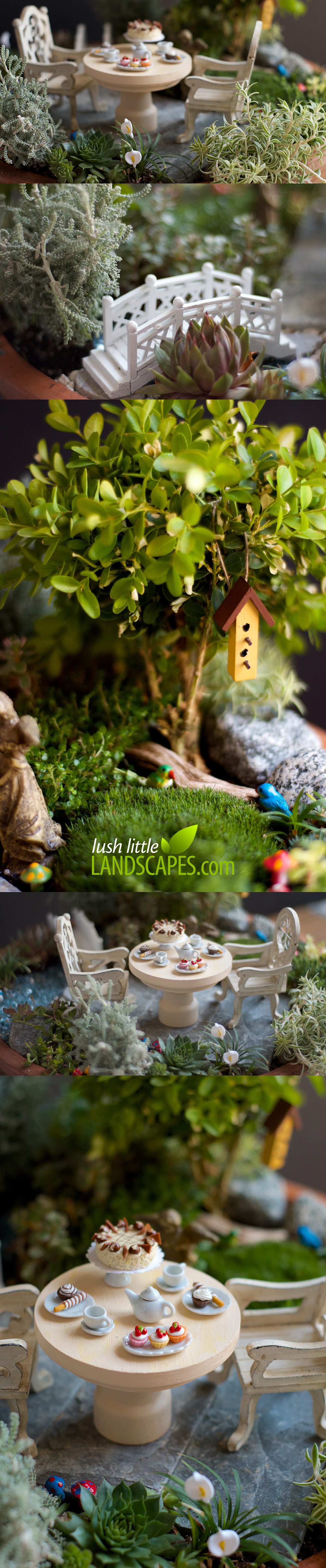 Miniature Garden Tea Party | Lush Little Landscapes look like a real garden - complete with a mini birdhouse, tiny birds, little mushrooms, miniature footbridge, and a dessert of cupcakes and cake with your tea.