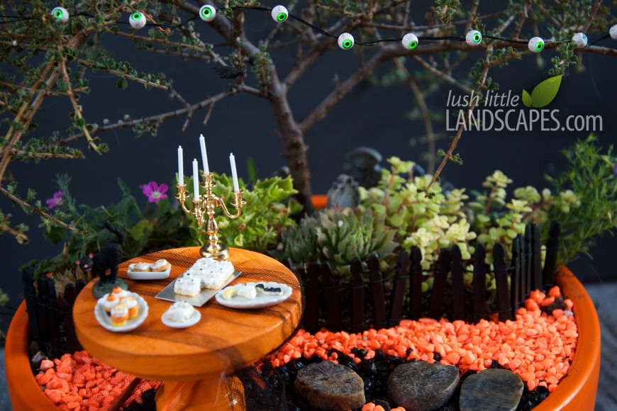 Miniature Halloween Fairy Garden by Lush Little Landscapes