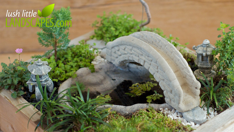 Using white and Black Aquarium Gravel in a Miniature Japanese Garden | Lush Little Landscapes
